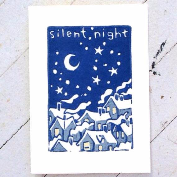 """Silent Night"" Hand Printed Card"