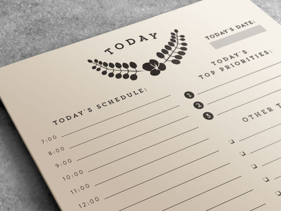 Daily Planner Notepad | To Do List, Half Letter Size | Hourly Planner
