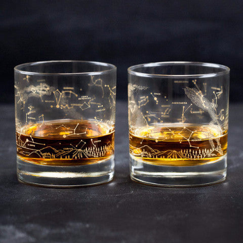 Astronomy Night Sky Old-Fashioned Lowball Whiskey Glasses (Pair) | Gold Constellation Star Chart