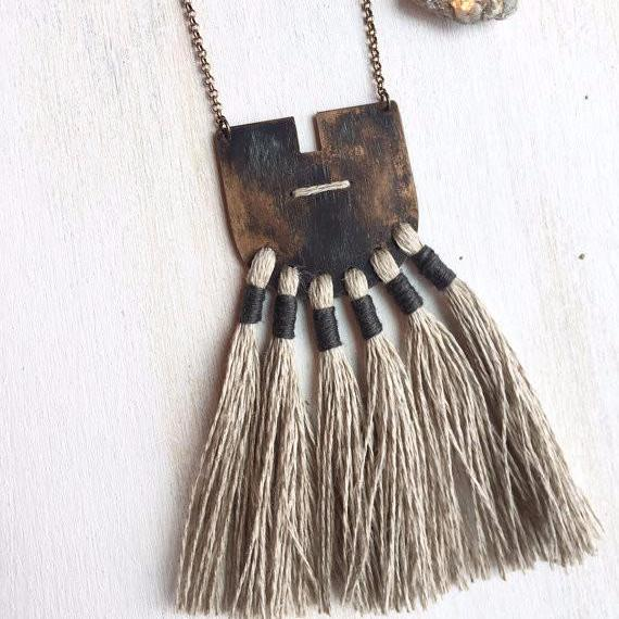 Currents Necklace IIII | Sand + Midnight Tassels