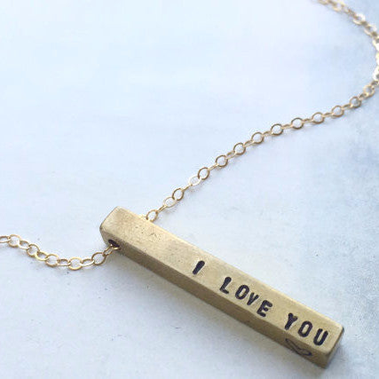 Skinny Brass Bar Necklace | I Love You