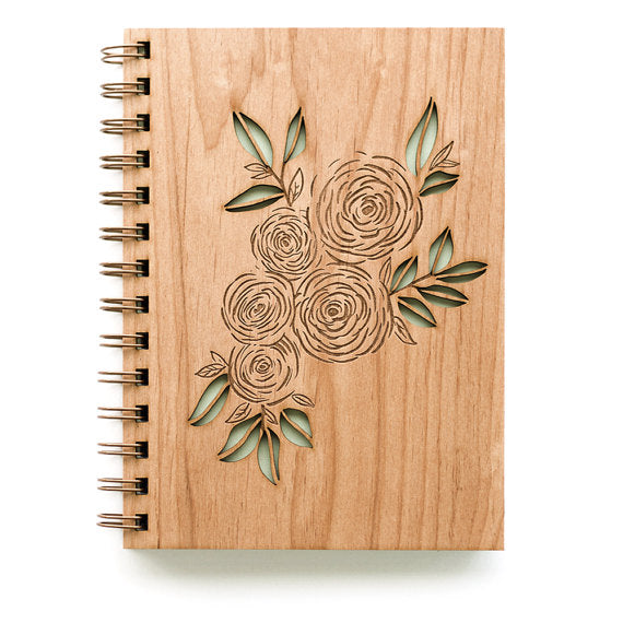 Laser Cut Wooden Journal | Ranunculus