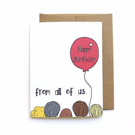 """From All of Us"" Birthday Card by Yellow Daisy Paper Co., available at Three Hearts Home"