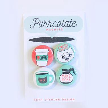 """Purrcolate"" Cat and Coffee Lover's Magnet Set"