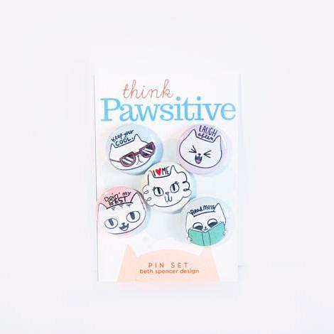 """Think Pawsitive"" Cat Lover's Pin Set"