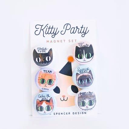 """Kitty Party"" Cat Lover's Magnet Set"