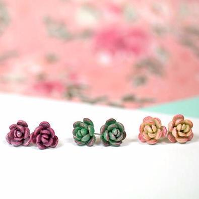 Handmade Polymer Clay Succulent Studs