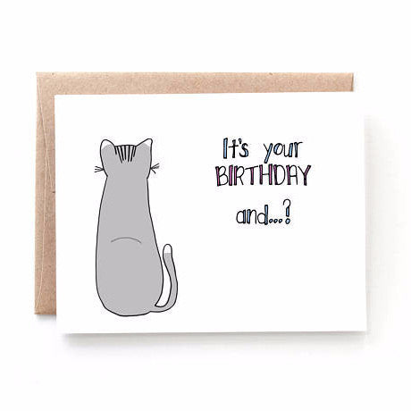 """From the Cat"" Birthday Card by Yellow Daisy Paper Co., available at Three Hearts Home"