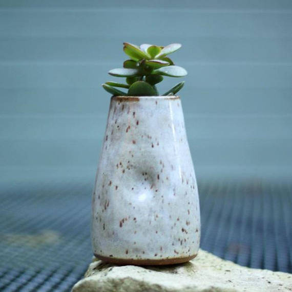 Handcrafted White Ceramic Dimple Vase