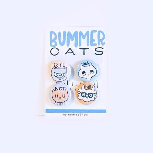 """Bummer Cats"" Funny Cat Lover's Pin Set"