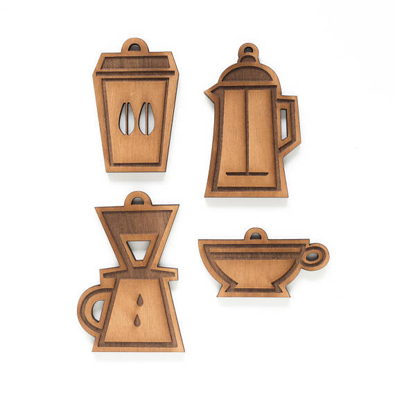 Set of 4 Coffee Lover Ornaments