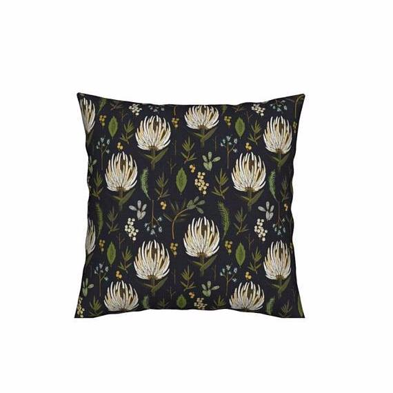 """Roots"" Collection Fall Garden Pillow in White 