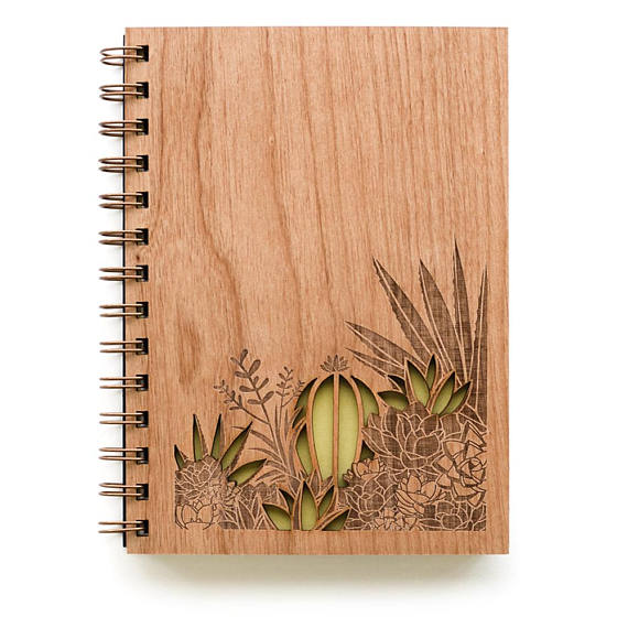 Laser Cut Wooden Journal | Desert Garden