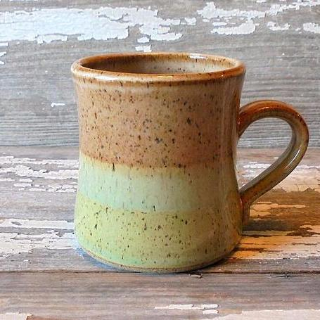 Handmade Mug | Seagrass Green and Honey Caramel