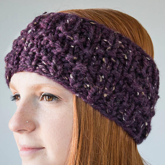 Chevron Knit Earwarmer | Raisin