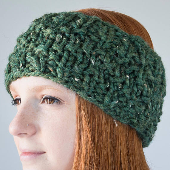 Chevron Knit Earwarmer | Kale
