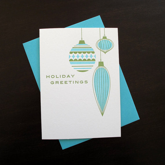 "Letterpresss ""Mod Ornaments"" Holiday Card"
