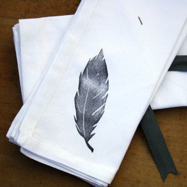 Set of Four Block Printed Napkins | Feather