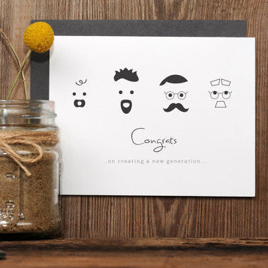 "Letterpress Baby Card | ""New Generation"""