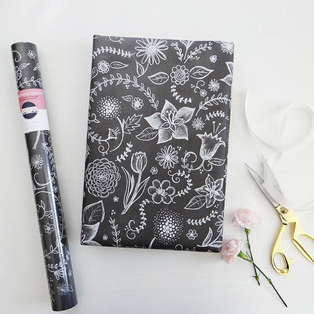 Hand Lettered and Illustrated Chalkboard Art Wrapping Paper by Lily & Val