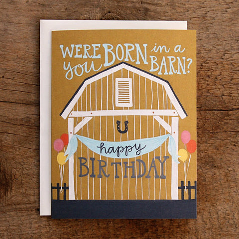 """Born in a Barn"" Illustrated Birthday Card by 1canoe2, available at Three Hearts Home"