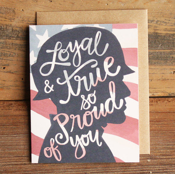 """Loyal and True"" Illustrated Military Card by 1canoe2, available at Three Hearts Home"