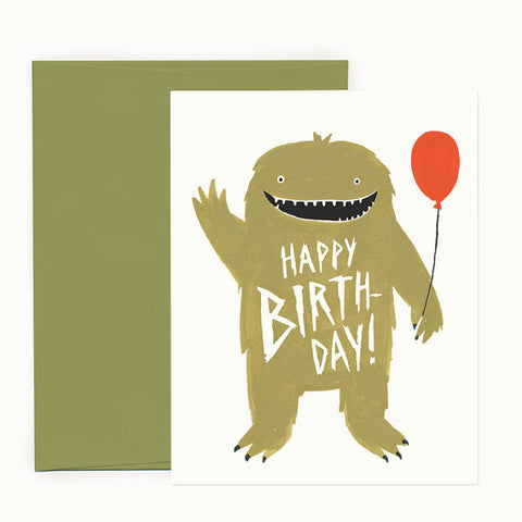 Happy Birthday Monster with Balloon Card