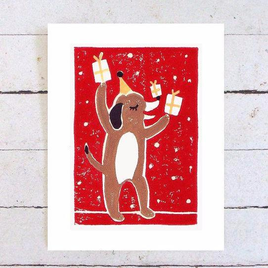 """Beagle Birthday"" Hand Printed Card by Nora Alice Art, available at Three Hearts Home"