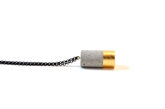 Cylinder Concrete Necklace | Copper or Gold Leafing
