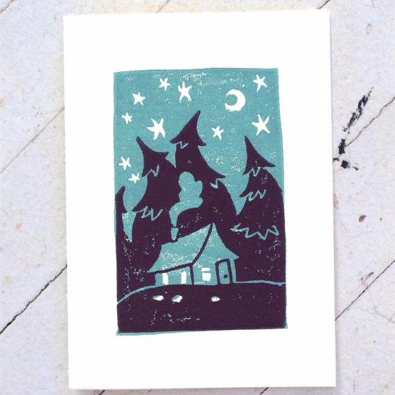 """Cabin in the Woods"" Hand Printed Card by Nora Alice Art, available at Three Hearts Home"