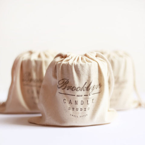 Brooklyn Candle Studio Hand Stamped Cotton Muslin Gift Bag