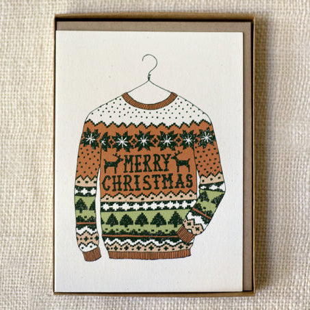 """Merry Christmas"" Ugly Sweater Cards 