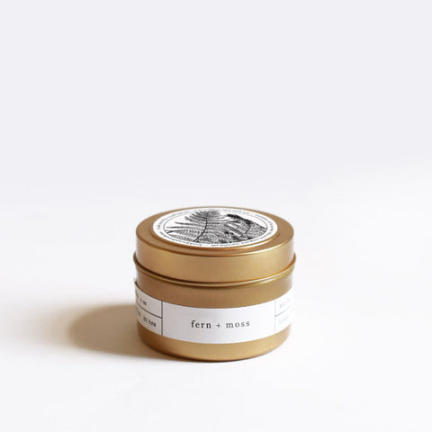 """Fern + Moss"" hand poured travel tin soy candle by Brooklyn Candle Studio.  100% Soy Wax. Small Batch, Handmade in US."