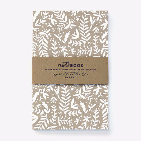 Natural Shapes Pattern Screen Printed Notebook | White & Gold