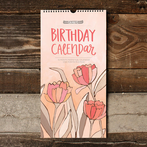 Birthday Calender featuring hand-painted floral illustrations by 1canoe2. Designed and offset printed in the US.