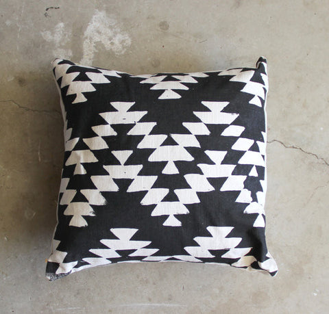 Throw Pillow | Black and Cream Aztec