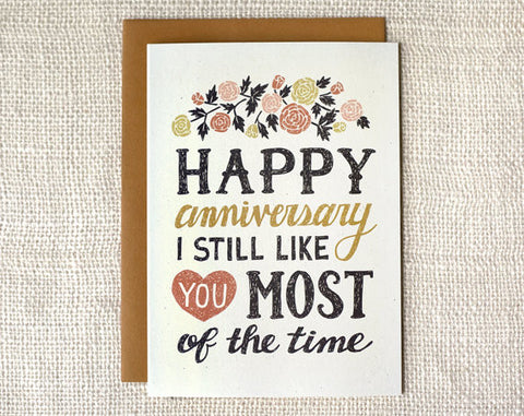 """I Still Like You"" Anniversary Card by Wit & Whistle, available at Three Hearts Home"
