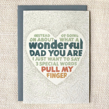 """Pull My Finger"" Funny Father's Day Card by Wit & Whistle, available at Three Hearts Home"