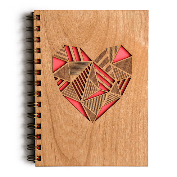 Laser Cut Wooden Journal | Geometric Heart