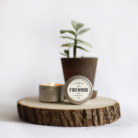 "Hand poured ""Man Candle"" Tin by Brooklyn Candle Studio. Firewood scent. Available at Three Hearts Home."