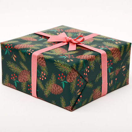 Pine Cone holiday gift wrap by Clap Clap, available at Three Hearts Home