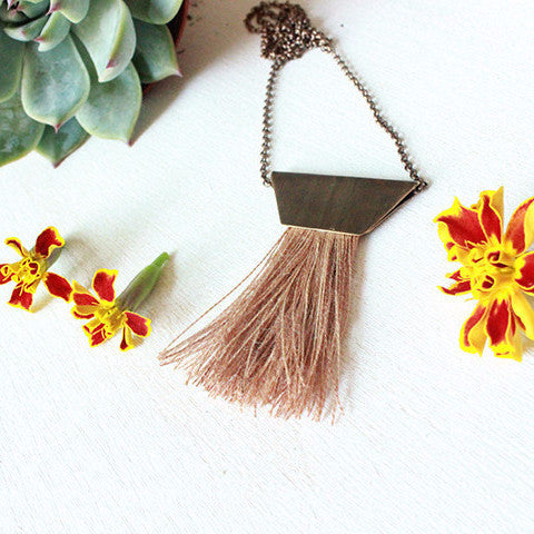 Brass & Tassel Necklace by Layers of Earth