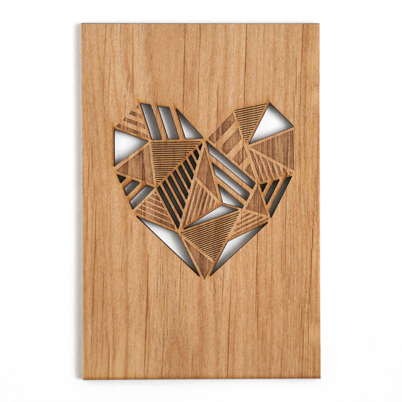Laser Cut Wood Card | Geometric Heart