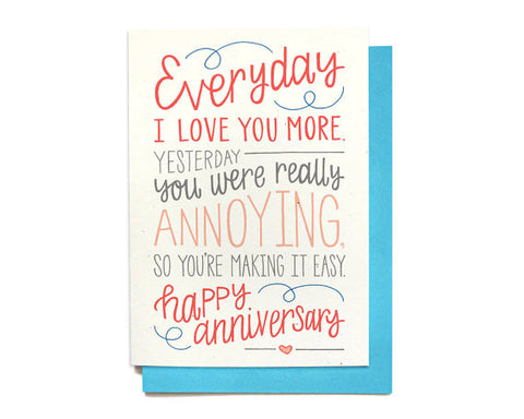 Anniversary Card | Funny | Everyday I Love You More