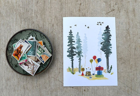 Water Color Card | Woodland Birthday