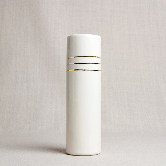 White Porcelain Cylinder Vase Gold Bands