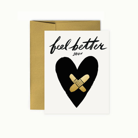 Feel Better Soon Card - Hearts with Bandaids