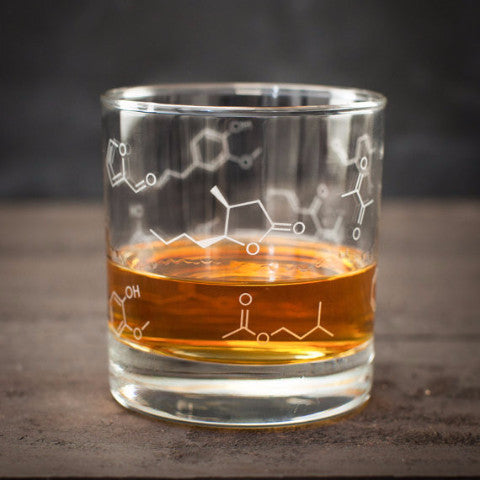 Whiskey Chemistry Lowball Rocks Glass | Nerdy science glass for mixologists