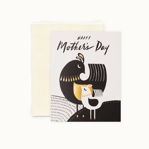 Mid Century mother and baby bird card for Mother's Day