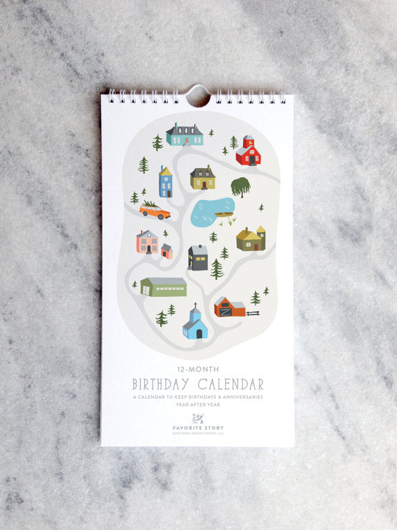 Perpetual Birthday Calendar | Village Illustrations | Small Town